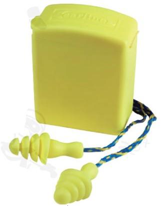 EARLINE 30213 többször használatos, mosható, zsinóros sárga füldugó rugalmas elasztomer anyagból