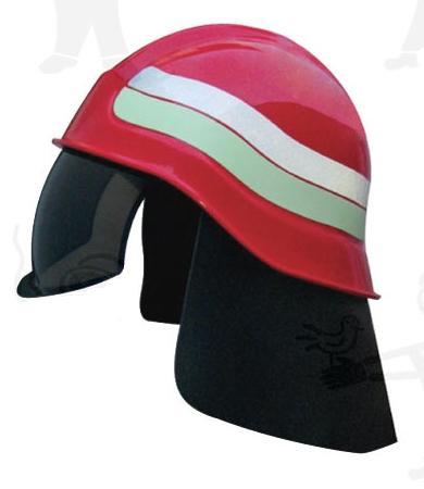 Tűzoltó védősisak lehajtható sötét látómezővel és levehető bőr tarkóvédővel (EN443) 59800-as