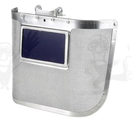 Kohász arcvédő, sisakra szerelhető, 300 x 170 mm-es acélháló, kobaltkék üveg 60677-es