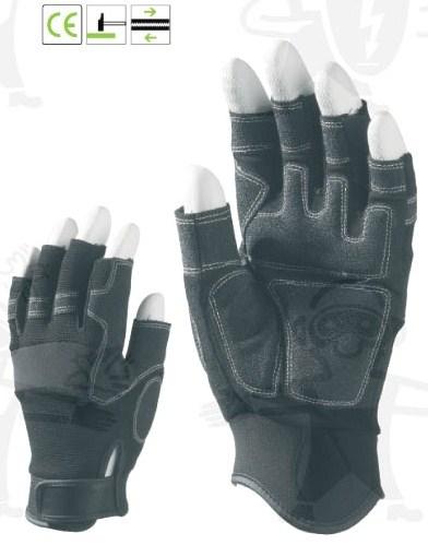 Ujjvég nélküli sofőrkesztyű, szintetikus bőr (PA/PU), belső párnázat, PES kézhát, Velcro 988-90-es