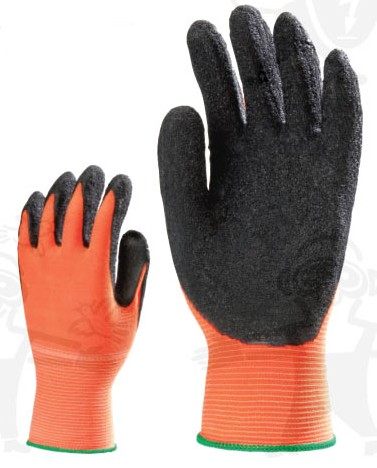 Fluo narancs poliamid kesztyű, erős, fekete latex, érdesített, csúszásbiztos tenyérrel 6446-50-es***KIFUTÓ***