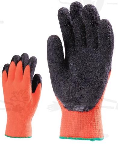 Narancs fluo téli kötött védőkesztyű, erős, fekete érdesített latex tenyér, poliészter bélés 6528-31-es