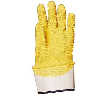 Sárga krepp latex merev mandzsettás, vágás-, csúszásbiztos 3801-es