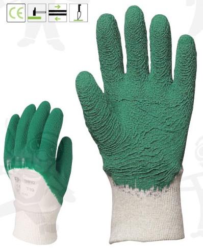 Zöld krepp latex vágásbiztos, csúszásgátló, szellőző hátú 3803-05-ös