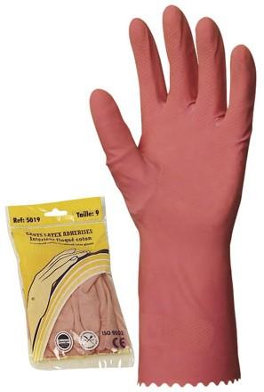Háztartási gumikesztyű, rózsaszín, 0,4 mm vastag, pamutbolyhozott belsővel, 30 cm 5017-20-as