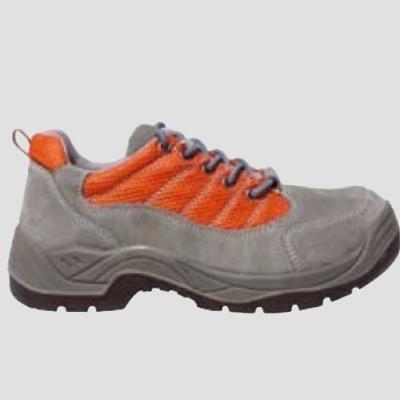 SPINELLE (S1P) szürke velúr cipő, szellőző narancs betét és fémgombok, acélkapli+talp LEP44-es