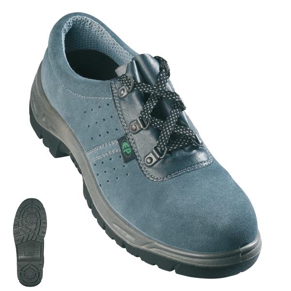 SUN (S1P) szürke velúrbőr cipő szellőző lukakkal, acéltalppal és -kaplival LEP45-ös