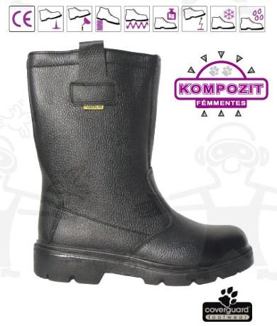 PLATINUM (S3) fekete színbőr, kompozit lábujjvédő, Welmax  talplemez LEP63-as