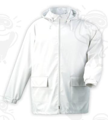 Food kabát, vízhatlan, vegyszerálló 40% poliuretán 60% poliészter, levehető kapucni FOOV