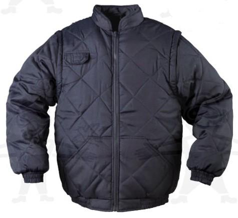 TOUN 5TOUBXX fekete vízhatlan Taslan 21 ben steppelt dzseki, levehető ujjak, bélelt kapucni XTOUB