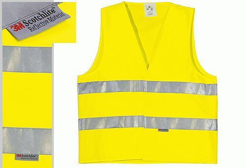 Fluo mellény 3M Scotchlite    fényvisszaverő csíkokkal, sárga 70200-as