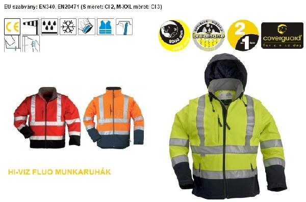 Coverguard jól láthatósági munkaruha 70630 Sárga vagy narancs fluo kabát, lélegző, vízhatlan softshell anyagból, kiváló hőszigetelés, levehető ujjak 70630-33-as