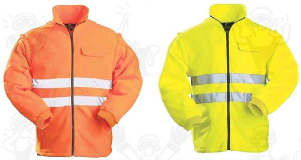Narancs fluo polár pulóver lecipzározható ujjakkal, fényvisszaverő csíkkal 70660-63-as