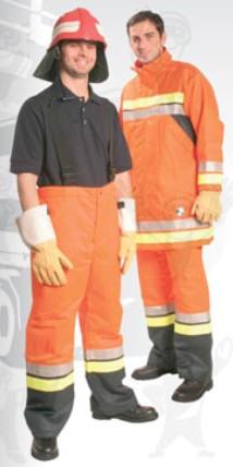 Nomex kabát, narancspiros, vízlepergető Confort külső sárga/szürke fluo csíkkal, aramid belső (EN469) 59810-es