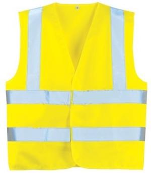 Fluo jól láthatósági mellény 2 vízszintes, 1 függőleges csíkkal, sárga   70242-43