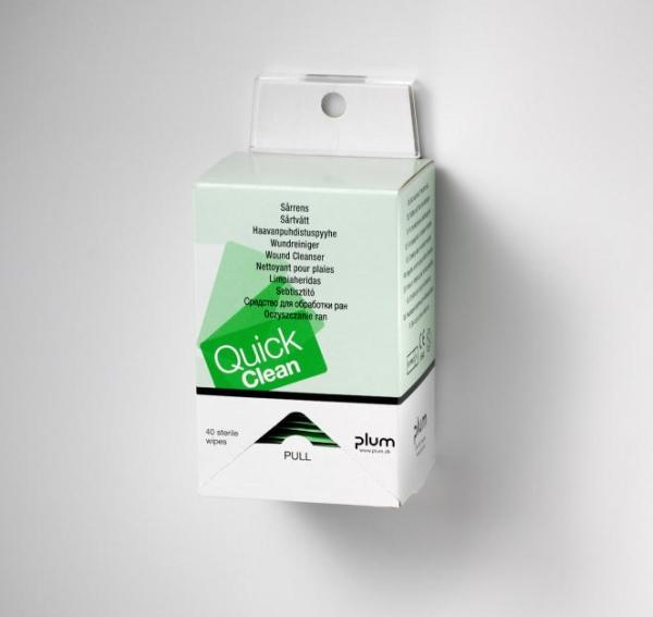 Plum Quick Clean 40 db nedves, steril sebtisztító kendő fali tartóval, 13 x 20 cm/db  PL5550