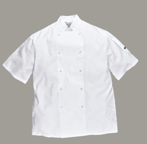 Portwest gasztro munkaruha Cumbria fehér, patentos szakácskabát (séfkabát), rövid ujjal C733x