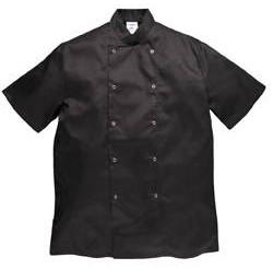 Portwest gasztro munkaruha Cumbria fekete, patentos szakácskabát (séfkabát), rövid ujjal C733y