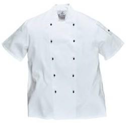 Portwest gasztro munkaruha C734 Kent gombos szakácskabát (séfkabát), fehér, rövid ujjal C734y