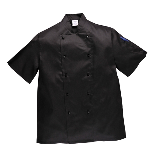 Portwest gasztro munkaruha Kent fekete, szakácskabát (séfkabát), gombos, rövid ujjal C734x