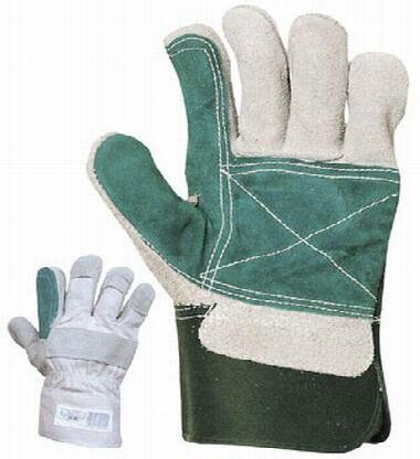 Tenyéren, hüvelyk- és mutatóujjon dupla bőrrel erősített marhahasíték munkavédelmi kesztyű 154-es