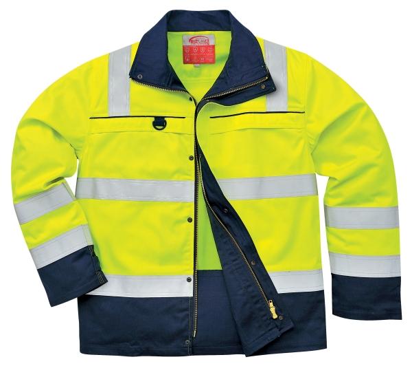 Portwest FR61 HiVis Multi-Norm jól láthatósági munkavédelmi kabát fényvisszaverő csíkokkal