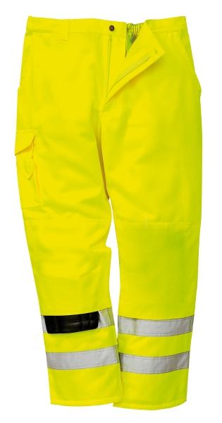 Portwest E046-os Hi-vis combat munkavédelmi deréknadrág fluo színben fényvisszaverő csíkkal