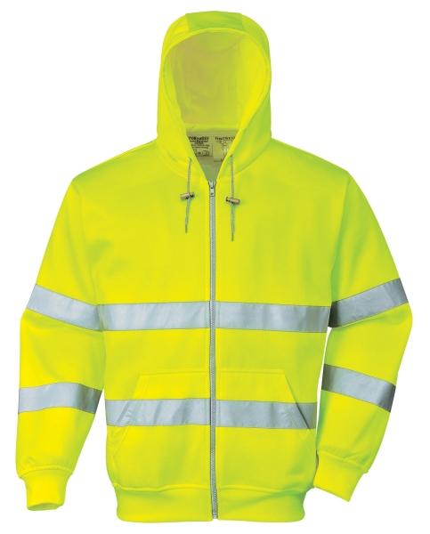 Portwest B305 Hi vis zippzáros munkavédelmi pulóver jól láthatósági, fényvisszaverő csíkokkal