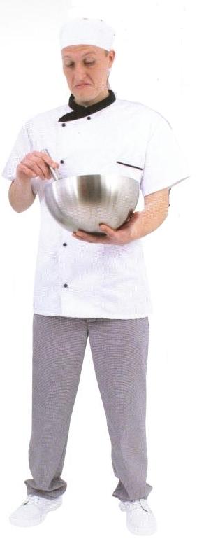 Coverguard Gasztro munkaruha, szakácskabát (séfkabát), rövid ujjú, fehér színű, fekete gallérral és kétsoros, cserélhető gombolással rendelkező 245g/m2 kevertszálas (65%poliészter, 35% pamut) modell. 45920-930