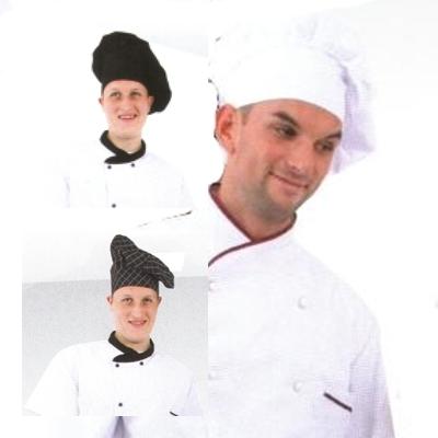 Coverguard Gasztro munkaruha, szakácssapka (séfsapka) bőségráncokkal, fehér, fekete és kockás színben, univerzális méretben. 45990-92