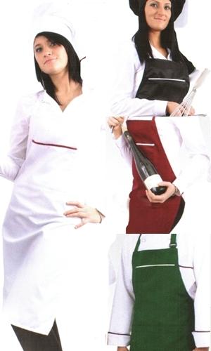 Coverguard munkaruha, gasztro ruha, női teljes (melles) kötény, derék és nyakszalagokkal rögzíthető, széles mellzsebén kontraszt díszcsíkkal fehér, fekete, bordó és zöld színben is. 45980-83