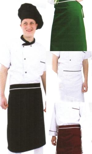 Coverguard munkaruha, gasztro ruha, női fél (derekas) kötény, derékszalagokkal rögzíthető, fehér, fekete, bordó és zöld színben is. 45985-88