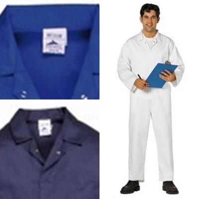 Portwest gasztro ruha, élelmiszeripari overall navy és királykék színben, patentos kivitelben, kiváló ár/érték arányú modell. 2201y