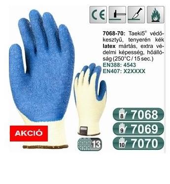 Tenyerén kék latex, vágásbiztos 250°C-ig hőálló kesztyű (7068-70)