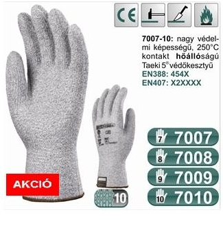 védőkesztyű (7007-10): maximális szinten kopás-, vágás-, szakadásbiztos 250°C-ig hőálló