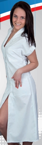 HT 123-as női köpeny, elöl gombos, férfi fazonos, hosszú modell, rövid ujjakkal. Egyéb szín