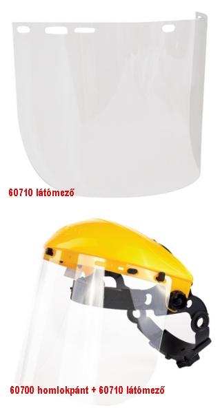 Polikarbonát arcvédő látómező, 195 x 430 mm 60710-es