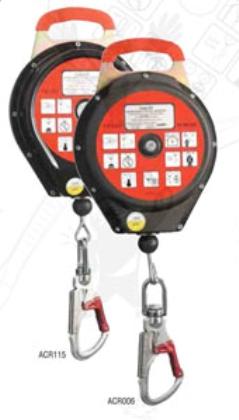 Cado-C6 ACR-006-os visszahúzható zuhanásgátló, 6m acélkábel, műanyag ház, karabin