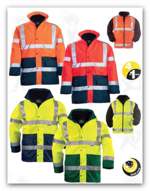 Coverguard jól láthatósági munkaruha 4 az 1-ben FLUO PE KABÁTOK (70550 )többféle színben 70550-70604