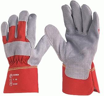 Vastag marhahasíték tenyérbéléssel, piros vászon kézháttal (a 155-ös női változata)