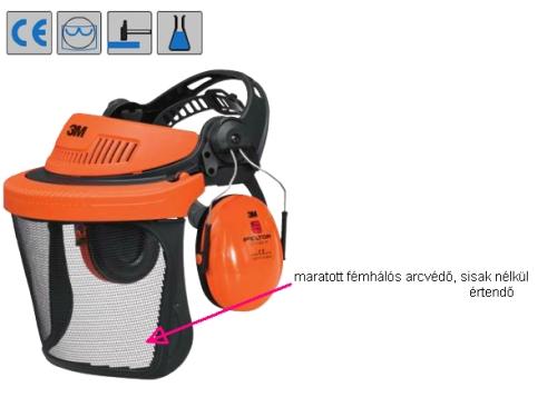 3M G500V5CH510-OR arcvédő/fültok kombi  rozsdamentes, maratott fémhálós arcvédő C0402009799999