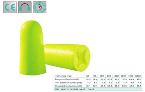 Uvex x-fit, lime színű,  lekerekített hengeres PU-hab füldugó (SNR 37dB)