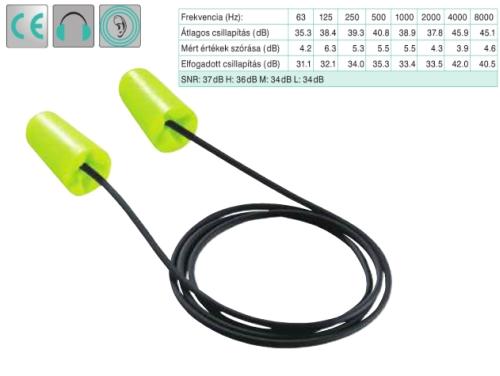 Uvex x-fit zsinóros, lime színű,  lekerekített hengeres PU-hab füldugó (SNR 37dB)