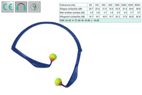 Uvex x-fold könnyű pántos füldugó (SNR 23 dB), összehajtható, könnyen elcsomagolható