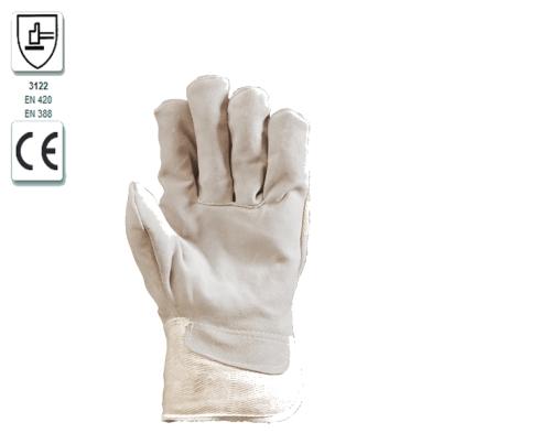 Szürke marhahasíték tenyérbéléssel, fehér vászon kézhát, kis méret