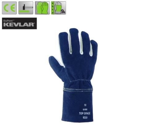 Uvex top grade 9300 1,2 mm vastag szürke hasíték+Kevlar alap, kék kézhát, egyedülálló védelem (4444)