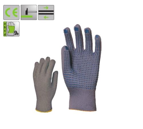 Vékony szürke kopásálló, kék pettyes, 13-as kötésű nylon védőkesztyű