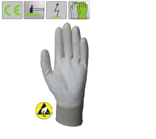 Antisztatikus ESD minősített poliamid/karbon kesztyű (6186-91), poliuretán tenyérrel