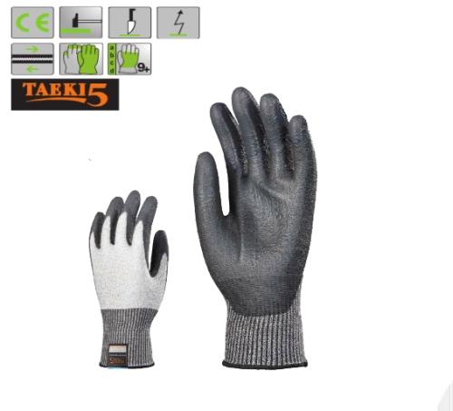 5-ös szinten vágásálló, kopásbiztos Taeki5 (7037) védőkesztyű fekete PU mártással, i-touch technológia