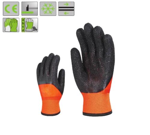 Bélelt PVC fluo narancs  védőkesztyű, 25 cm, fekete Coral típusú érdesítés a tenyéren